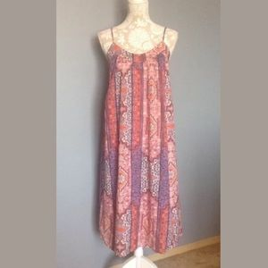 Lucky Brand Orange Pink Tapestry Midi Dress sz S